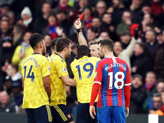 Arsenal pegged back at Palace as Aubameyang sees red following VAR decision