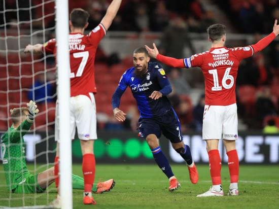 Lewis Grabban's late equaliser rescues Forest at lowly Middlesbrough