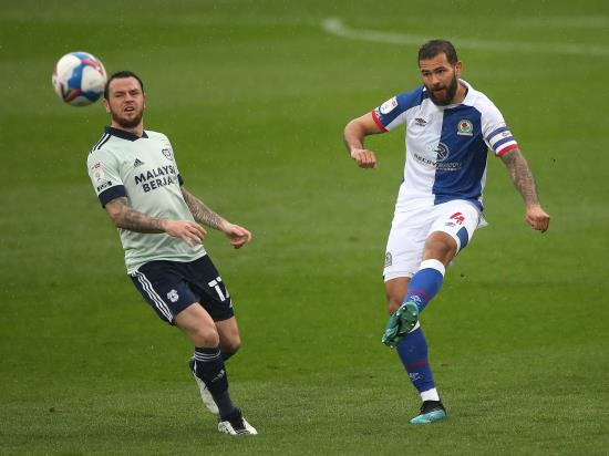 Cardiff hold on for point at Blackburn after Lee Tomlin red card