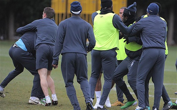 Kolo Toure and Adebayor fight during latest training ground bust-up at Manchester City