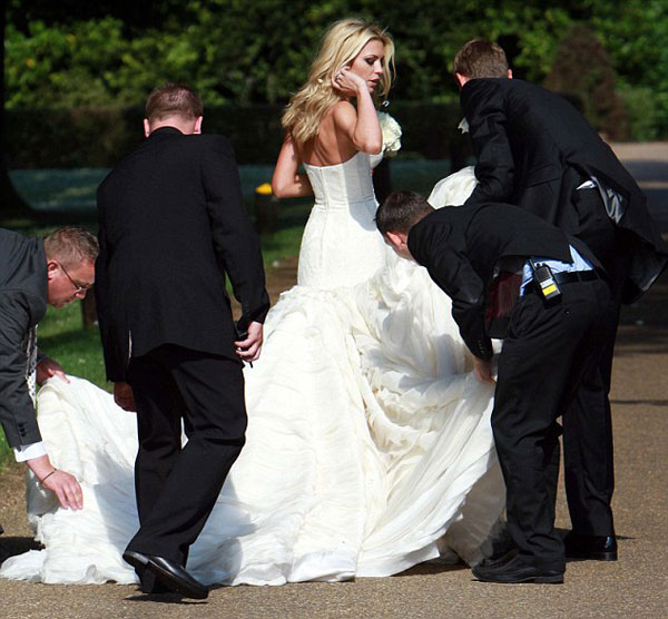 Nice day for a wag wedding as peter crouch ties the knot for Giles deacon wedding dresses