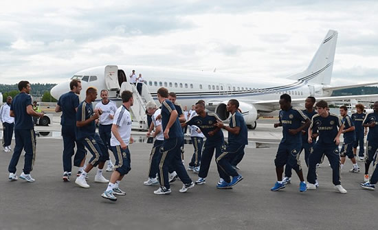 Not your average plane delay... Chelsea stars enjoy ad hoc runway training session