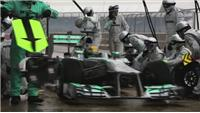 Hamilton's home comforts as he test his new Mercedes car at Silverstone