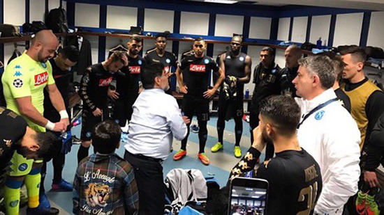 Maradona delivers pre-match talk to Napoli players