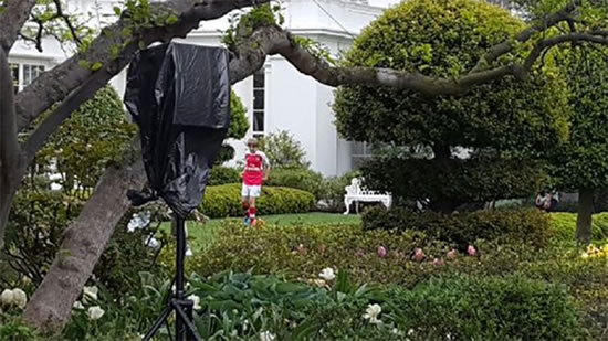 Donald Trump's son pictured wearing full Arsenal kit in White House gardens
