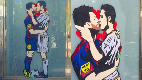 Messi and Cristiano Ronaldo kiss in pre-Clasico artwork