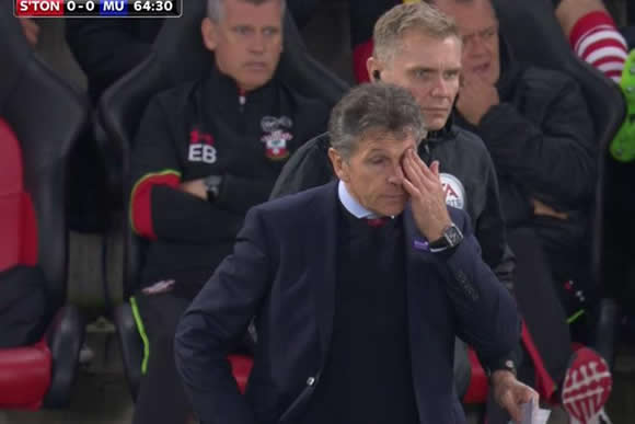 ON YER HEAD Southampton manager Claude Puel takes a ball to the face during Man United clash