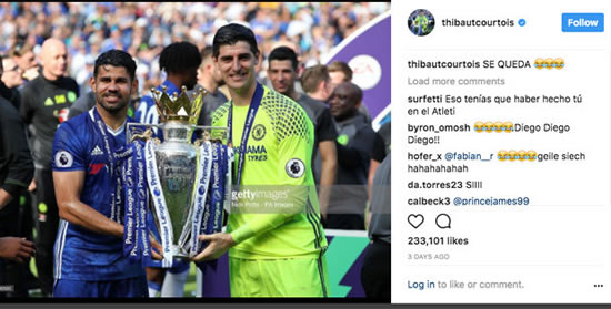 Chelsea star Thibaut Courtois apologises to Atletico fans after Diego Costa Instagram post