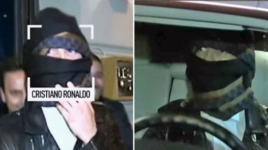Disguised Cristiano Ronaldo jokes with journalists after dinner in Madrid