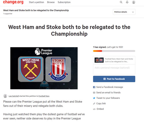 Fans start petition for both West Ham and Stoke to be relegated after sitting through first half