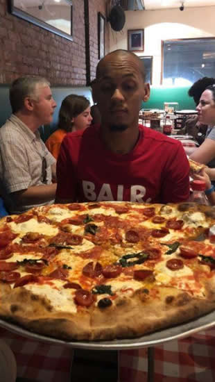 Liverpool new boy Fabinho enjoys huge pizza and trip to the Statue of Liberty as Reds midfielder visits New York City with wife Rebeca Tavares