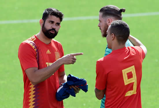 Diego Costa causes trouble in Spain training as Atletico Madrid ace laughs and jokes ahead of World Cup