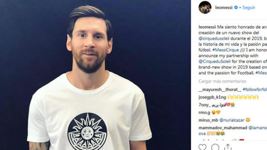 Cirque du Soleil will make a show inspired by Lionel Messi's life