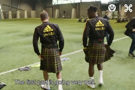 Chelsea striker Michy Batshuayi goes commando under kilt and plays bagpipes to prepare for Belgium's Euro 2020 qualifier vs Scotland