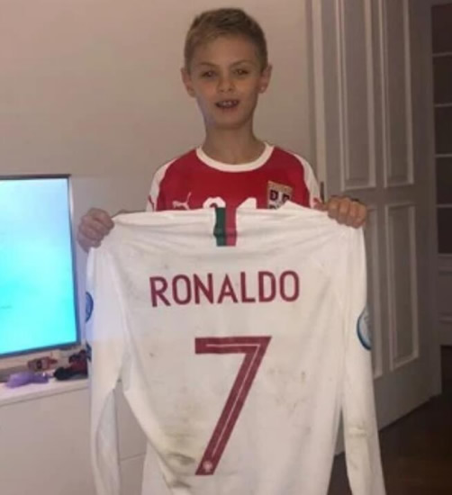 Watch Cristiano Ronaldo high five Man Utd star Nemanja Matic's son in tunnel before giving him Portugal shirt after win over Serbia
