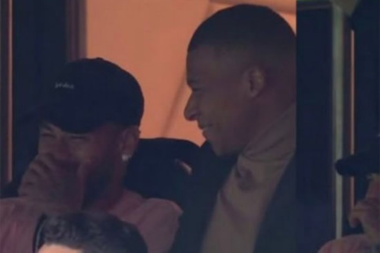 Neymar and Kylian Mbappe caught laughing in the stands as PSG thrash Real Madrid