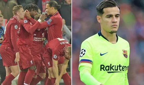 Philippe Coutinho's dressing room reaction to Liverpool beating Barcelona has emerged