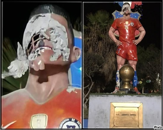 New attack on a footballer's statue: This time Alexis Sanchez