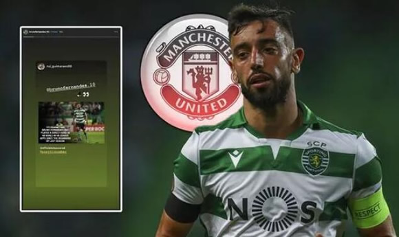 Bruno Fernandes drops Man Utd transfer tease as Sporting star nears Old Trafford switch