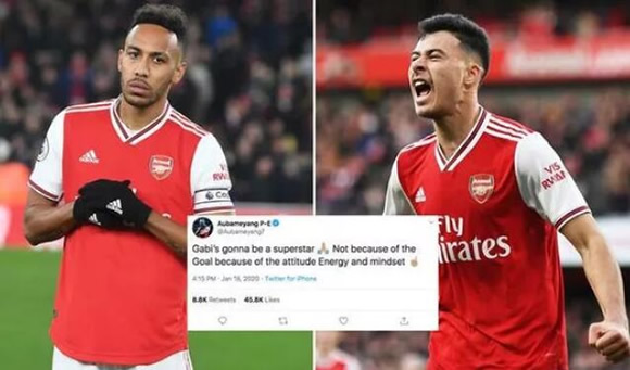 Pierre-Emerick Aubameyang sends Gabriel Martinelli message after Arsenal goal