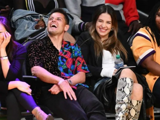 Ex-Man Utd star Javier Hernandez wears wacky half-and-half shirt as he and stunning Wag Sarah Kohan watch NBA match