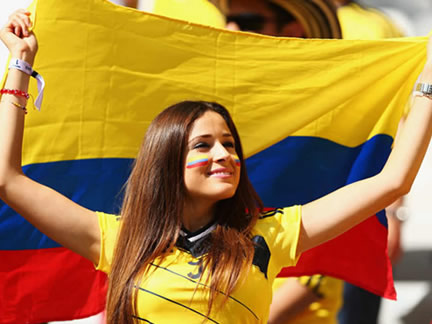 Colombia fans in the stands