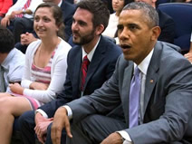 Obama drops in on White House World Cup watch party