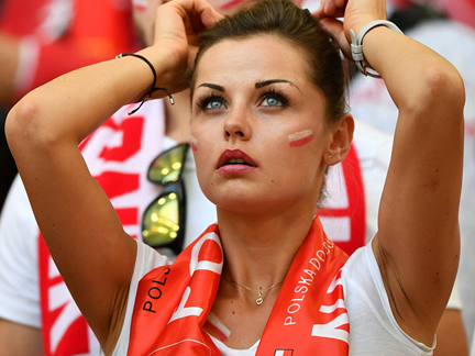 Polish beautiful fans show their love to their national team