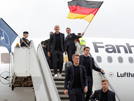 World Cup holders Germany arrived in Russia